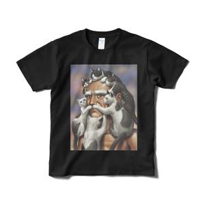 猫じじいTシャツ(黒)