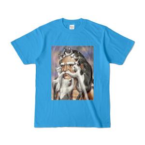 猫じじいTシャツ(ターコイズ)