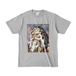 猫じじいTシャツ(グレー)