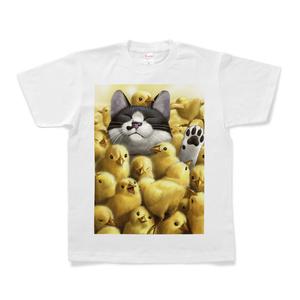 Tシャツ - S - 白(ひよこと猫)