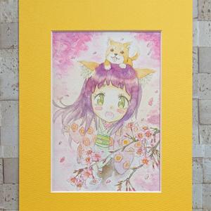 桜 ミニ原画 (ポストカードサイズ)