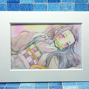 直筆水彩画「鬼滅の刃・禰豆子」はがきサイズ