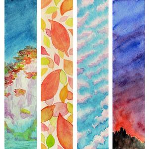 水彩原画しおり『秋の切れ端』