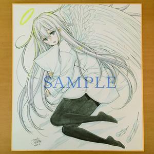手描き色紙「天使はあと5分眠りたい」