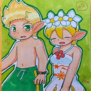 色紙(ドラクロワ&エレイン)