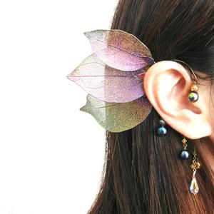 ~leaf fairy~スワロと天然石のイヤーフック(全4色)★受注制作