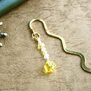 持ち歩くサンキャッチャー☆スワロフスキーと天然石のブックマーカー(しおり)全7色:ゴールド