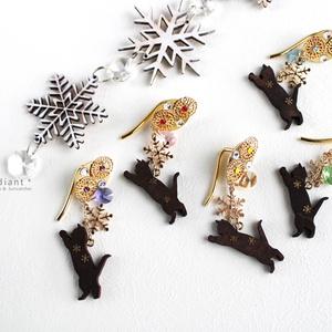 猫と雪の結晶ポニーフック(全5色)[受注制作]
