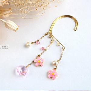 桜とオクタゴンのイヤーフック(スワロフスキー・クリスタル使用)