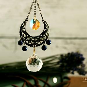 誕生月で選べる☆天然石とオクタゴンの金古美サンキャッチャー★Swarovski crystal使用【受注制作】