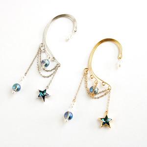 星とアクアオーラ 惑星イヤーフック Swarovski Crystal (全2色)