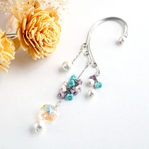 小花とオクタゴンのイヤーフック(Swarovski crystal使用)☆シルバー(1点もの)