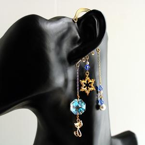 猫と六芒星のイヤーフック(全5色)☆Swarovski crystal 使用