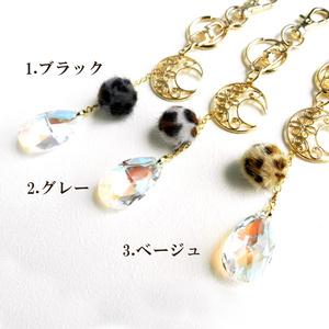 三日月と猫玉のバッグチャーム☆全3色 スワロフスキー・クリスタル使用
