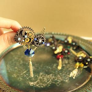 廻る歯車★星屑の歯車ブローチ(全5色)Swarovski crystal使用 ★ Radiantスチームパンク
