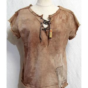 (S)手染め一点もの「あの布の服」ファンタジーシャツ(ボロ)(a-008)