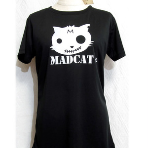 (La-L)プリントドライTシャツ「MADCAT」白猫(1-196)