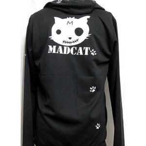 (S)ドライフルジップフード付パーカーMADCATプリント「白猫」(4-022、4-032)