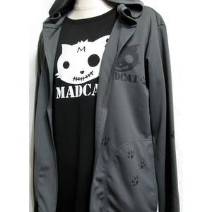 (S)ドライフルジップフード付パーカーMADCATプリント「黒猫」(4-024)