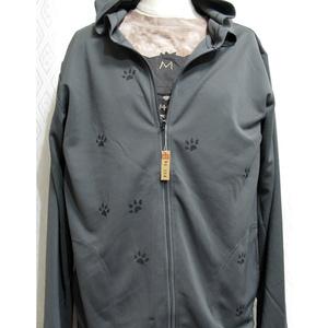 (L)ドライフルジップフード付パーカーMADCATプリント「黒猫」(4-028、032)