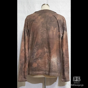 (S)手染め一点ものファンタジーウェア「あの服」Vネック長袖(茶系)(1-285)