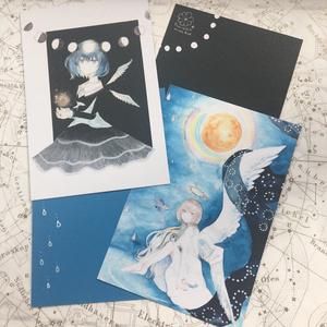 羽折れ天使と月少女【ポストカード】