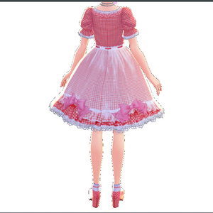 ギンガムチェックのロリータワンピース⁺リボン Lolita one piece로리타 원피스洛麗塔一件깅엄 체크【Vroid用衣装テクスチャ】