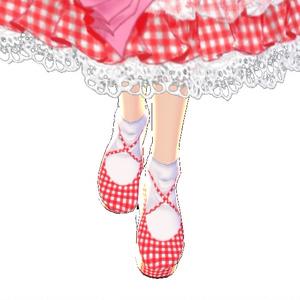 【Vroid用衣装テクスチャ】ギンガムチェック 厚底パンプス 靴 シューズ