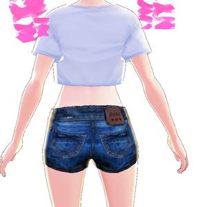 ミニTシャツ白8枚 + デニムのショートパンツのセットDenim shorts데님 반바지牛仔短褲texture텍스처質地【VRoid用テクスチャ】