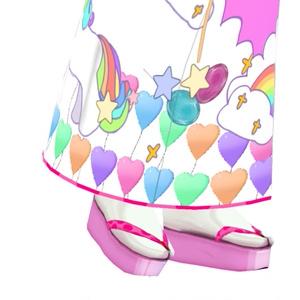 和服用 草履 黒/ピンク+足袋白 ぽっくり☆和装 きもの KIMONO기모노☆짚신【VRoid用】