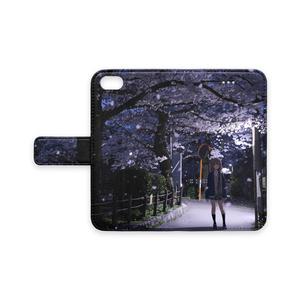 手帳型iPhoneケース /夜桜