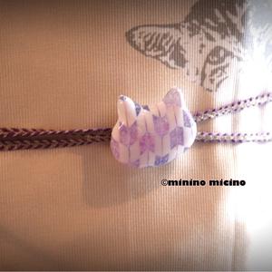 猫型帯留め飾り 矢絣風アート