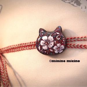 猫型帯留め飾り 木瓜風アート