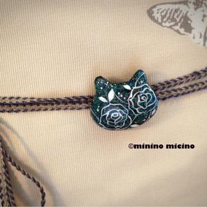 猫型帯留め飾り 薔薇アート