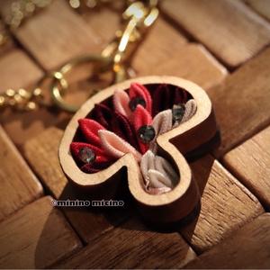 木工キノコ型つまみ細工×アート バッグチャーム 活力色