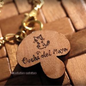 木工キノコ型つまみ細工×アート バッグチャーム  やすらぎ色