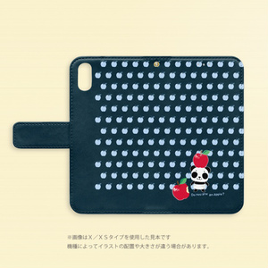 iPhone XS*  手帳型* リンゴ食べたの誰?ズレてもパンダズレぱんだちゃん