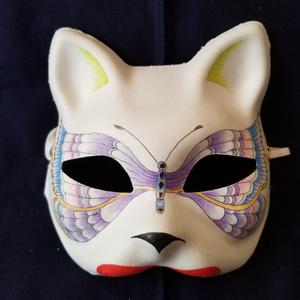 【ハンドメイド1点モノ】手作り和風半狐面[110024]