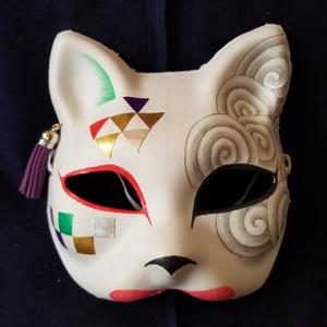 【ハンドメイド1点モノ】手作り和風半狐面[105826]