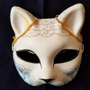 【ハンドメイド1点モノ】手作り和風半狐面[105618]