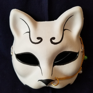 【ハンドメイド1点モノ】手作り和風半狐面[105351]