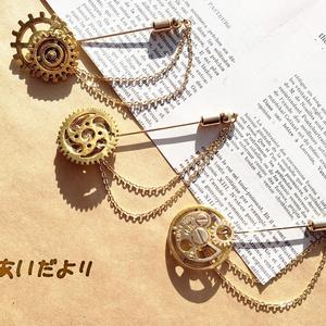 歯車ピンブローチ(金色)【再販】