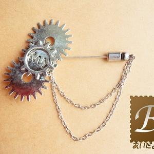 歯車ピンブローチ(銀色)【再販】
