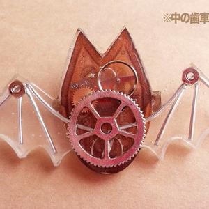歯車×コウモリ ブローチ スケルトン
