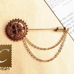 歯車ピンブローチ(銅古美)