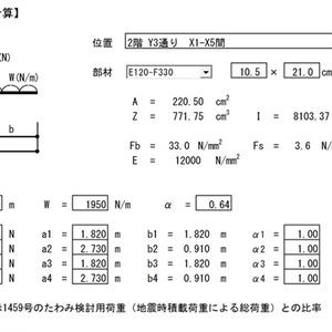 木造梁の設計 (等分布荷重+4点集中荷重)