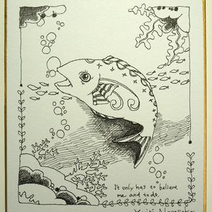 原画色紙(小) - fish