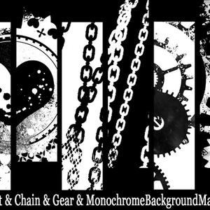 ハートと鎖と歯車のモノクロ背景素材高解像度
