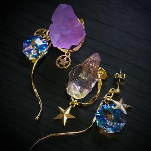 【SALE】星屑の耳飾り-鉱石と星- ¥3200→2300