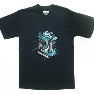 【PixelArtPark4】シルクスクリーン ドット絵 Tシャツ 黒